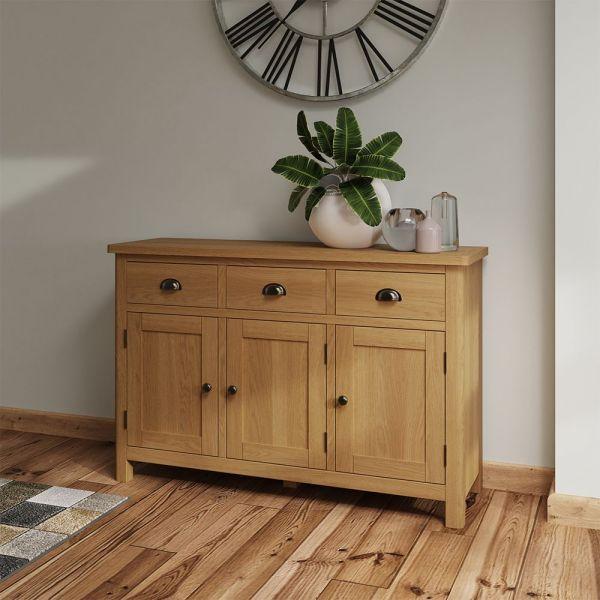 Herman 3 Drawer 3 Door Sideboard- Rustic Oak