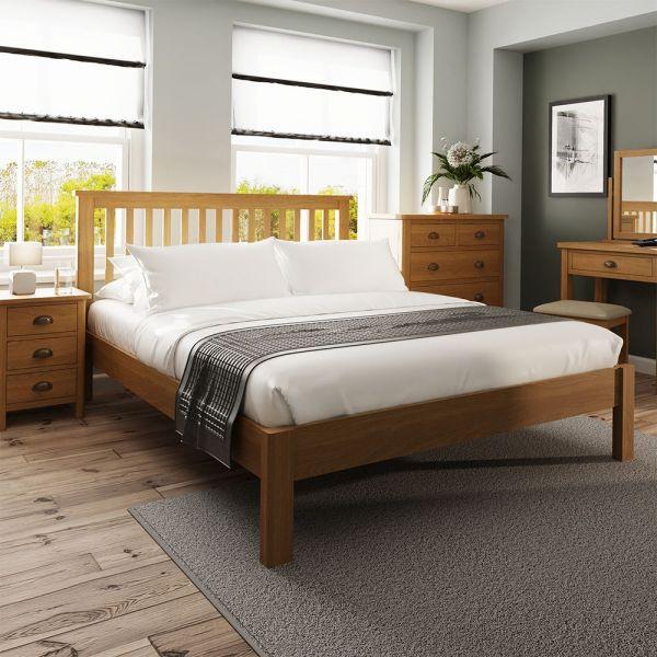 Cardano 5FT Kingsize Bed Frame - Rustic Oak