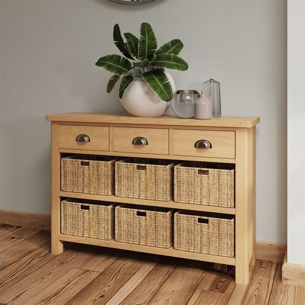 Herman 3 Drawer 6 Basket Unit- Rustic Oak