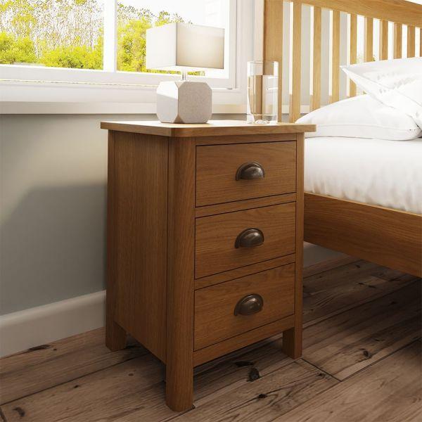 Cardano 3 Drawer Bedside Cabinet - Rustic Oak