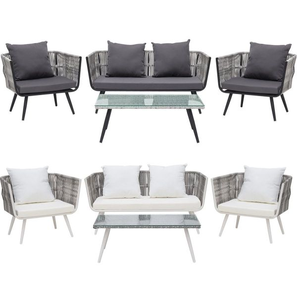 Ragu 4PC Rattan Garden Lounge Set - White or Grey