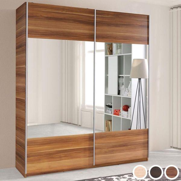 Valero 2-Door Sliding Wardrobe 175cm - Plum Wallis, Wenge or Sonoma Oak