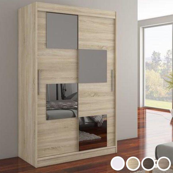 Laos Mirrored 2-Door Sliding Wardrobe 120cm - White, Brown, Truffle Oak or Sonoma Oak