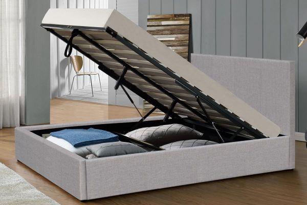Richmond Grey Linen Ottoman Bed - Double