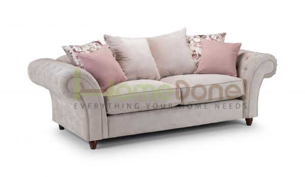Romulo Fabric Sofa with 3 Seater - Grey/Beige