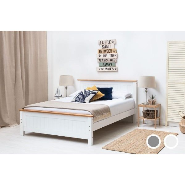Rostherne King Country Wood Panel Bed - White or Grey
