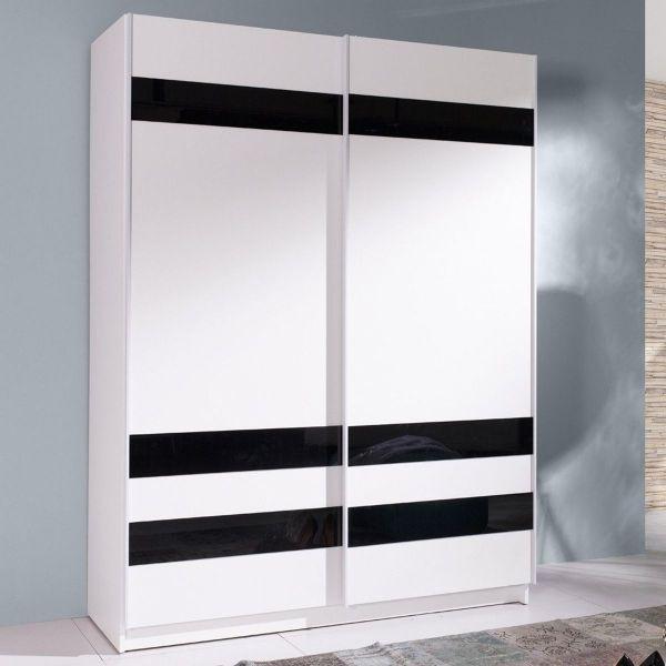 Belona 2-Door Sliding Wardrobe 150cm - White & Black Glass
