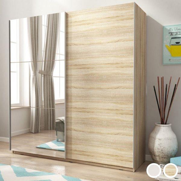 Merlin-II Mirrored 2-Door Sliding Wardrobe - White or Sonoma Oak