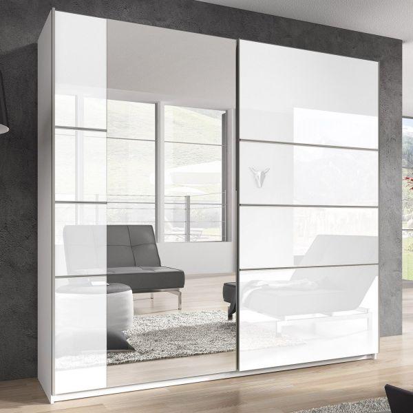 Baldo-II 2-Door Mirrored Sliding Wardrobe - White Gloss
