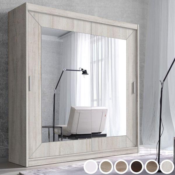Abel 2-Door Mirrored Sliding Wardrobe - 6 Colours