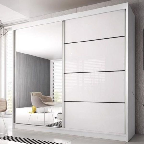 Mable-XIII 2-Door Mirrored Sliding Wardrobe - White