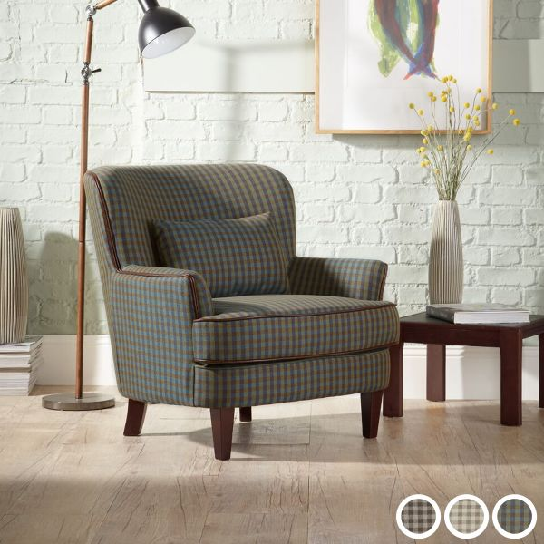 Moffat Checkered Fabric Occasional Armchair - Green, Brown or Cream