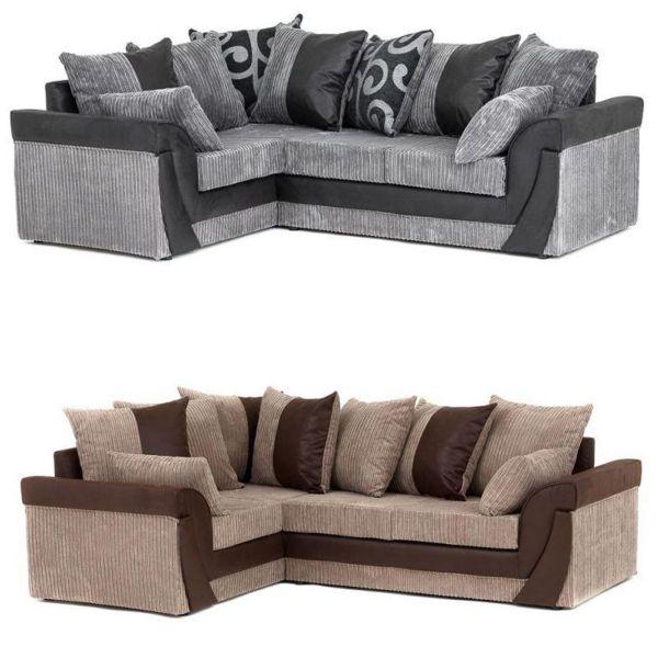 Lavender Cord Chenille Corner Sofa - 2 Colours