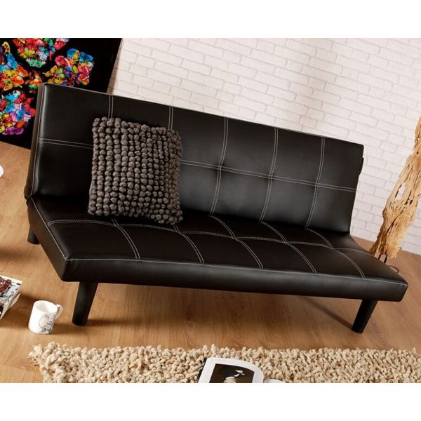 Spencer Faux Leather 3 Seater Sofa Bed - Black