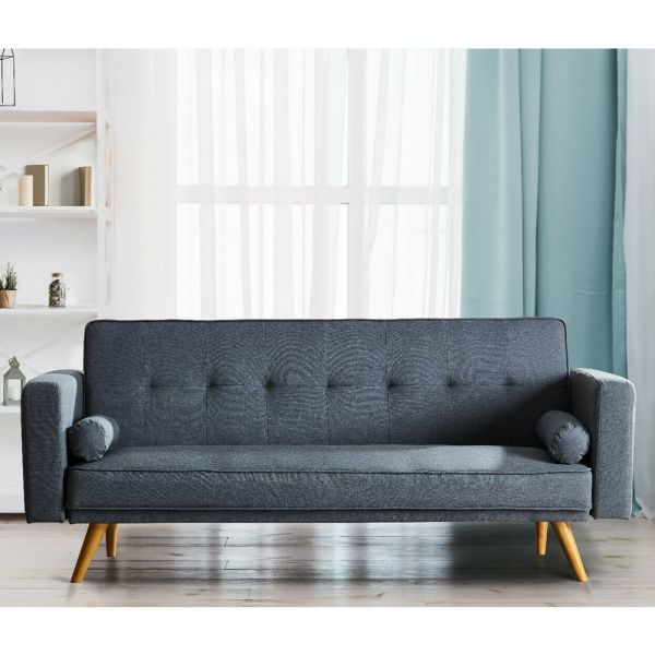 Modern Linen Fabric 3 Seater Sofa Bed - 3 Colours