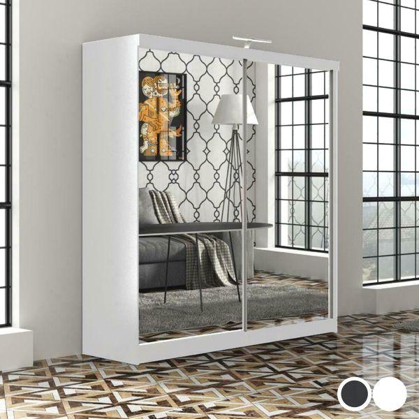 Quine Full Mirror Double Sliding Wardrobe in 2 Sizes - Black, White