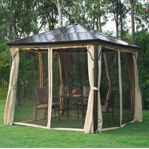 Outsunny 3x3m Gazebo with Mosquito Net - Brown / Black / Beige