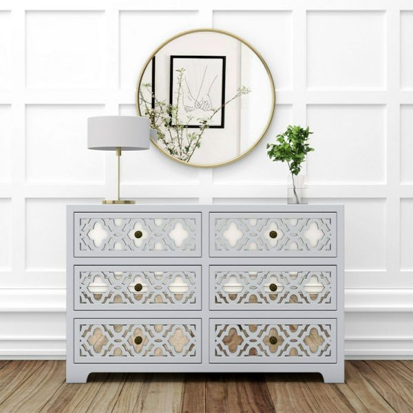 Alexis Mirrored 6 Drawer Chest of Drawers - Grey