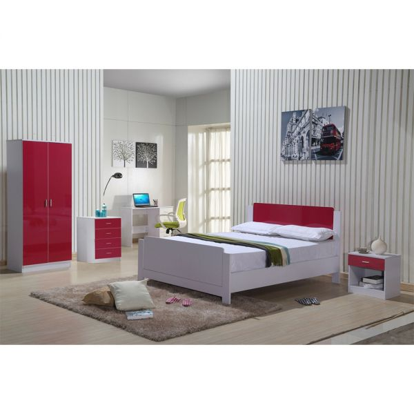High Gloss 3 Piece Bedroom Trio Set - White & Red