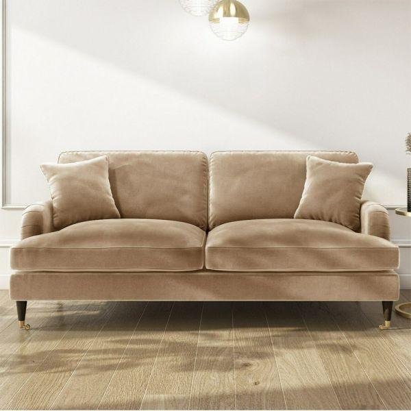Payton Velvet 2 Seater Sofa - Beige