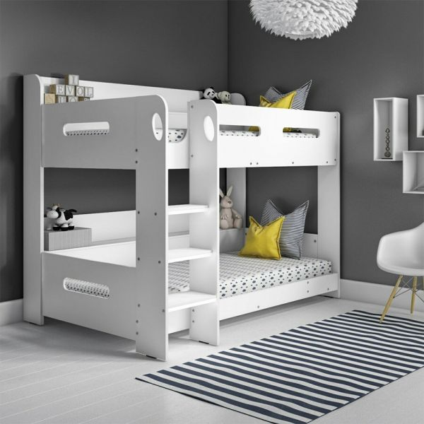 Sky White Bunk Bed with Ladder