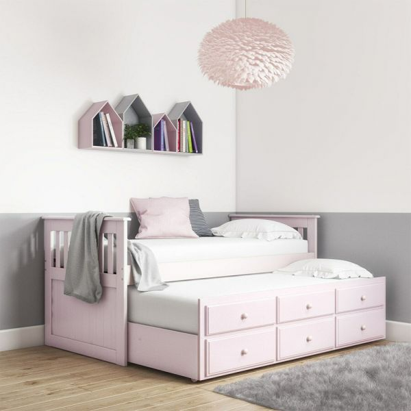 Oxford Captains Guest Bed With Storage - Light Pink