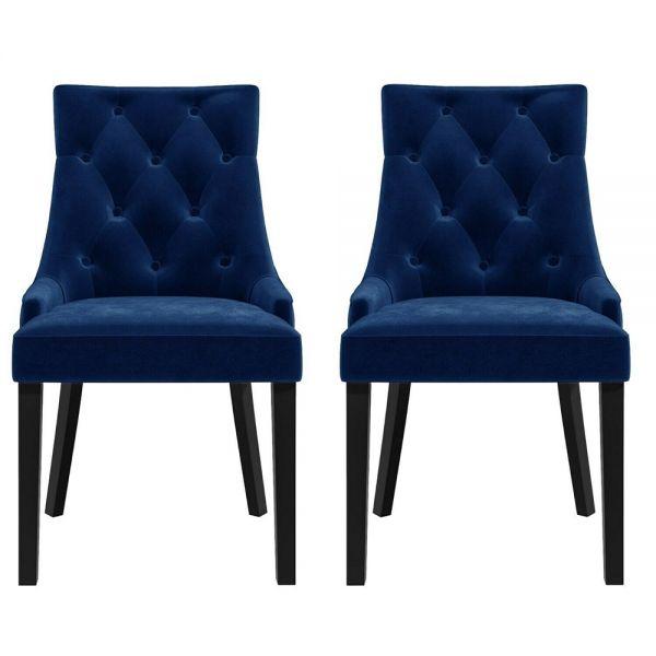 Kaylee Set of 2 Velvet Dining Chairs - Navy Blue