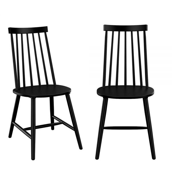 Cami Set of 2 Wooden Spindle Dining Chairs - Black