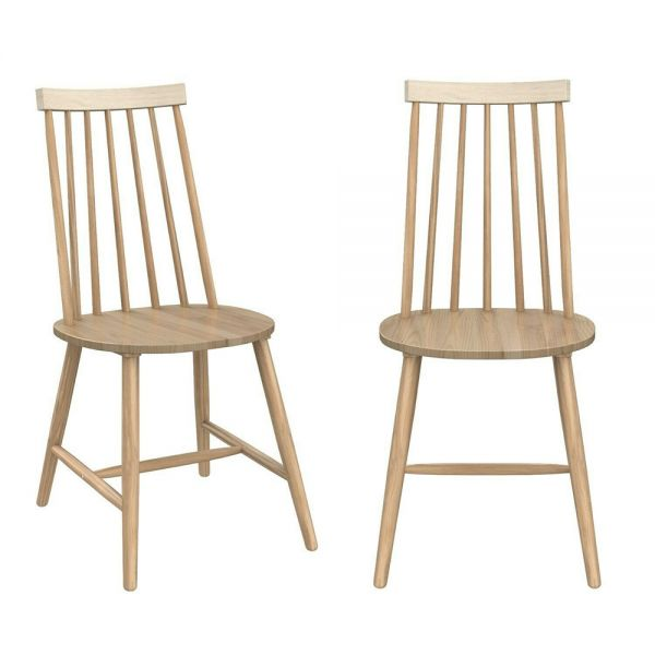 Cami Pair of Spindle Dining Chairs - Light Oak Effect