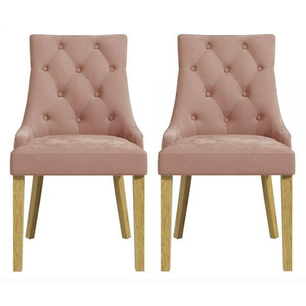 Kaylee Set of 2 Velvet Dining Chairs - Pink