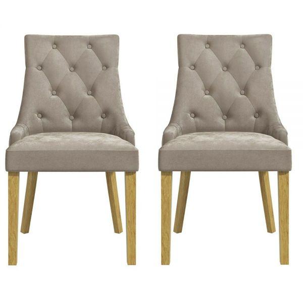 Kaylee Set of 2 Velvet Dining Chairs - Mink