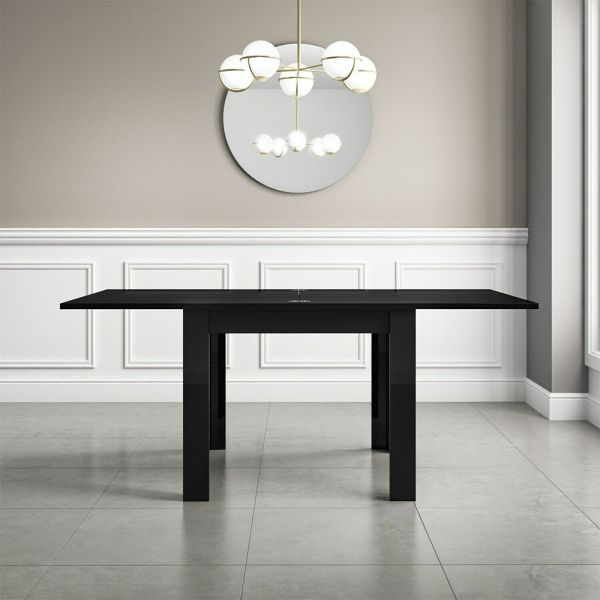 Vivienne High Gloss Flip Top  Dining Table - Black