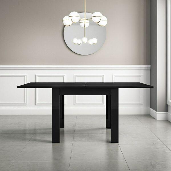 Vivienne High Gloss Flip Top  Dining Table - Black