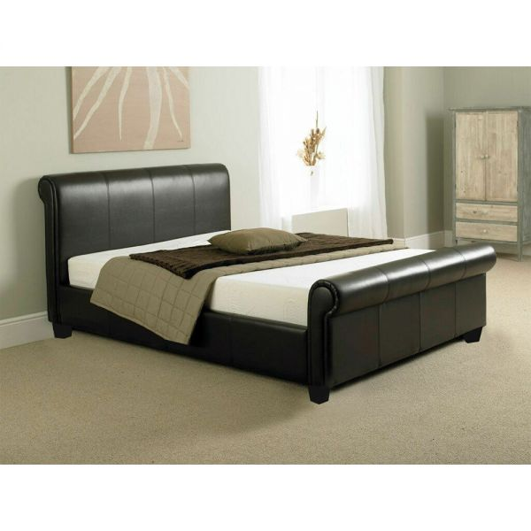 Como Faux Leather Sleigh Bed Frame - 2 Colours