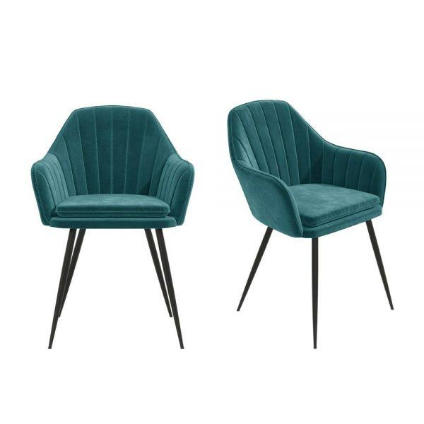 Logan Set of 2 Velvet Dining Tub Chairs - Teal