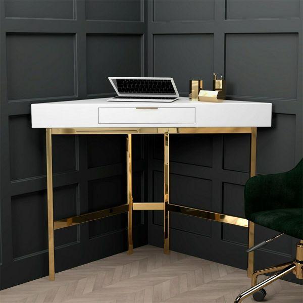 Roxy High Gloss Corner Desk - White