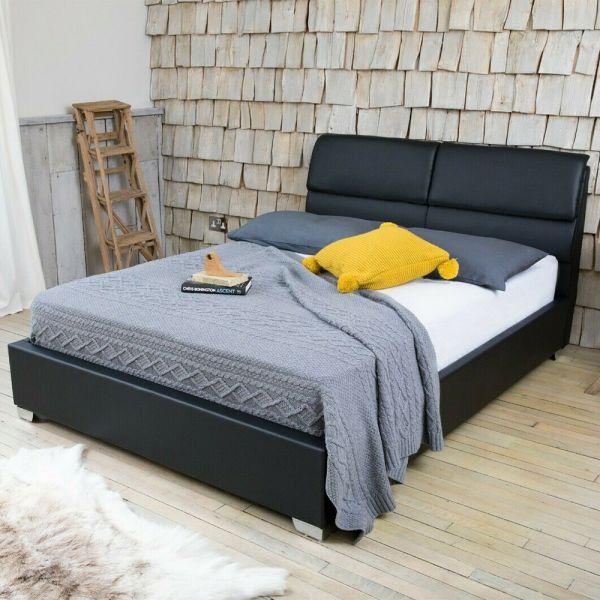 Modern Designer Faux Leather Bed Frame - Black