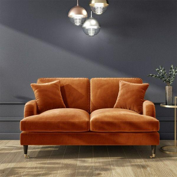 Payton Opulence Velvet 2 Seater Sofa - Orange