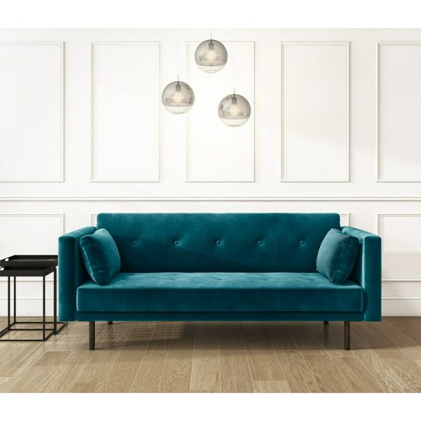 Rory 3 Seater Velvet Sofa Bed with Cushions - Teal Blue