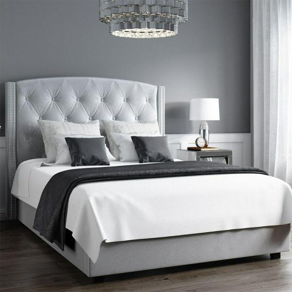 Safina Velvet 5FT Kingsize Ottoman Bed - Silver Grey