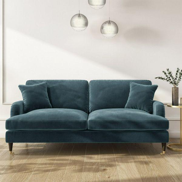 Payton Velvet 3 Seater Sofa - Petrol Blue