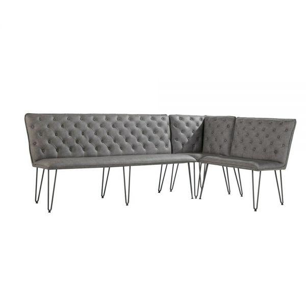 Large Corner Dining Bench Set with Studded Back - Grey