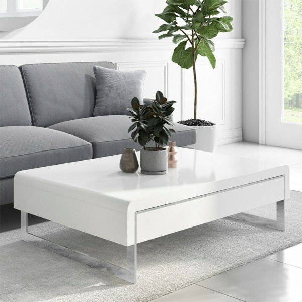 Tiffany Curved Coffee Table with Drawer - White Gloss