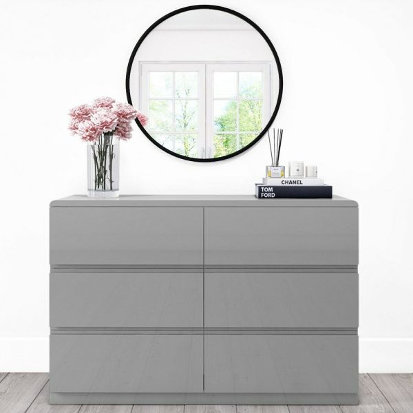 Lyra 6 Drawer Wide Chest of Drawers - Grey Gloss