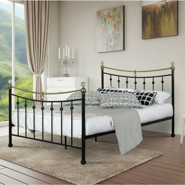 Modern Metal Crystal Bed Frame with Mattress Option