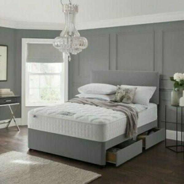 Divan Bed Frame with Drawer Storage - Grey