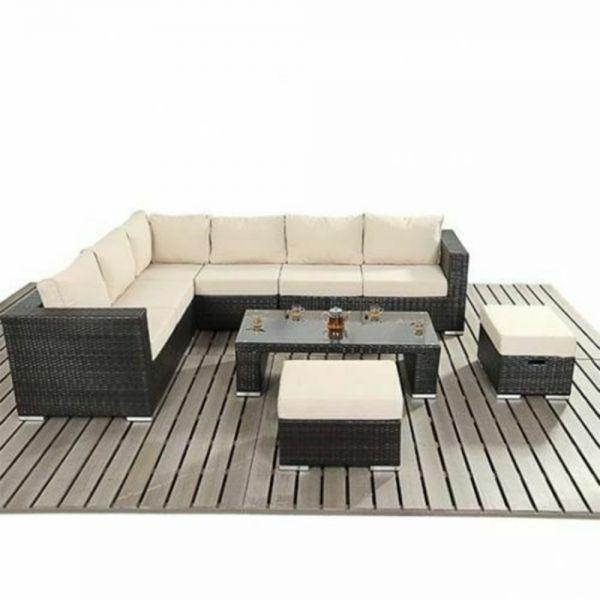 Modern Rattan Garden Corner Dining Set - 3 Colours