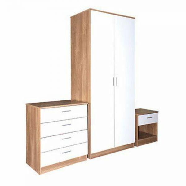 Stylish Modern 3 Piece Bedroom Trio Set - Oak & White