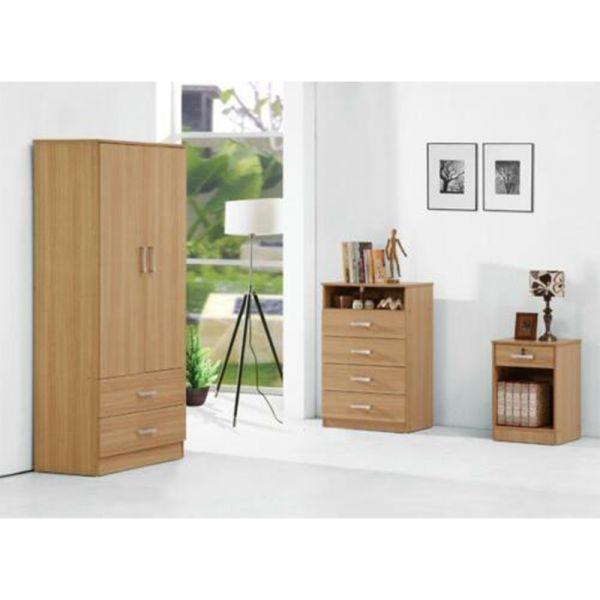 Wrexham Stylish Oak Finish Bedroom Trio Set