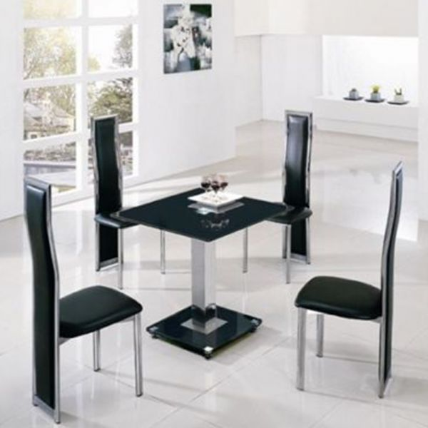 Jet Square Glass Chrome Dining Table - 4 Colours